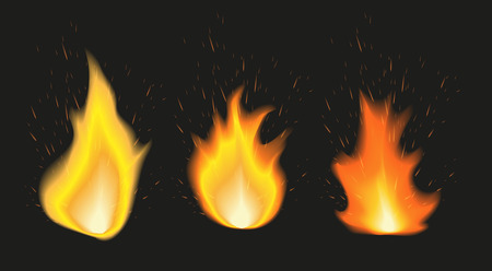 Set of fire flames of various size with sparks on black background. Vector illustration.