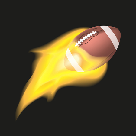 American football ball flaming on a black background. Object with fire vector illustration