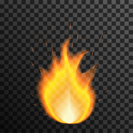 Fire flame on transparent background. Vector illustration