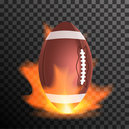 sports equipment: American footbal or rugby ball in a flame. Design concept with sport equipment and fire