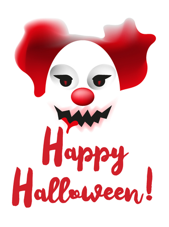 scary clown mask happy halloween poster or greating card template