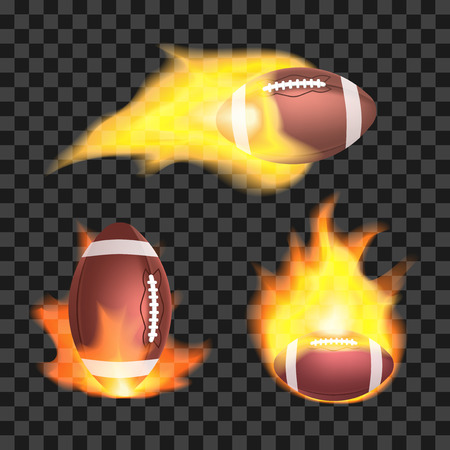 Set of american football or rugby balls flaming on a transparent background. Sport equipment with fire. Vector illustration