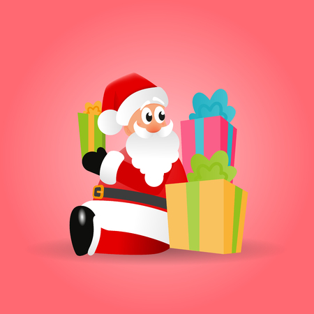 Christmas vector illustration of Santa Claus with gifts on a red background. Cartoon character is carrying presents to children.