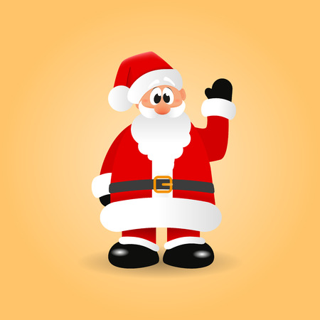 grandfather frost: Santa Claus is waving his hand and making greeting gesture. Cartoon character on an orange background. Christmas vector illustration Illustration