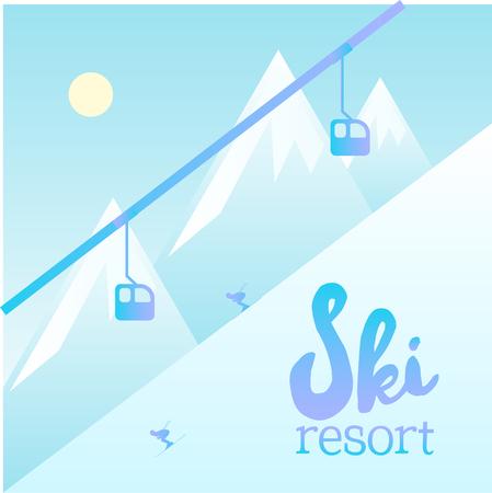 スキー リゾートのベクトルのポスター。スキーヤーのためのスキー場のリフト システムを示す図。冬景色と、ケーブルカー。  イラスト・ベクター素材