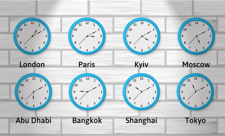 Time Zones Wall Clock Illustration. Global time. Clocks showing different time zones. Objects on a brick background. Illustration