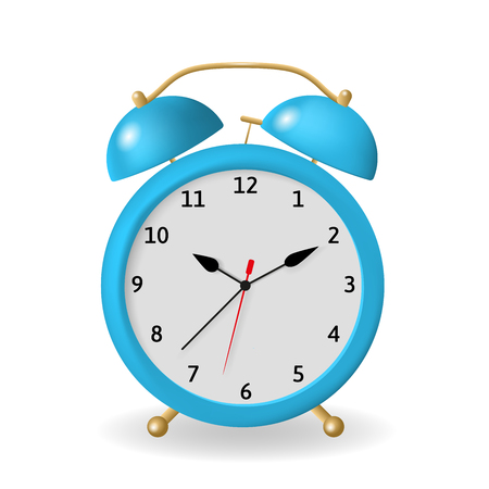 Alarm clock vector illustration. Blue object isolated on a white background. A clock that can be set to ring a bell at a particular time to wake a sleeping person. Illustration