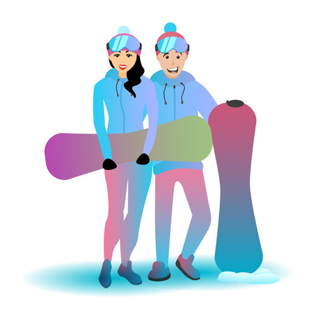 Snowboarding couple with sports equipment