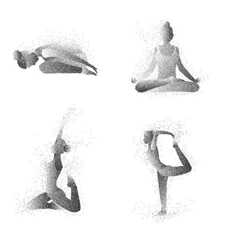 yogi: Woman is doing yoga exercises. Particle female silhouette vector set. Womens yoga class.