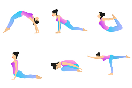 Female Yoga. Woman is doing yoga positions. Vector set of different yoga exercises.