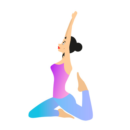 yogi: Woman is sitting in a yoga position. Vector illustration of female yoga practice. Illustration