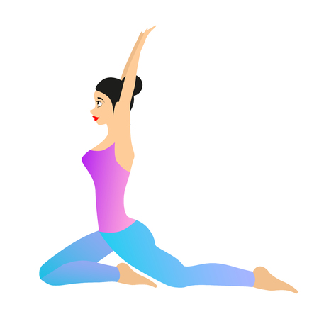 Womans Yoga vector illustration. Girl is making yoga movements. Female athlete is isolated on a white background.