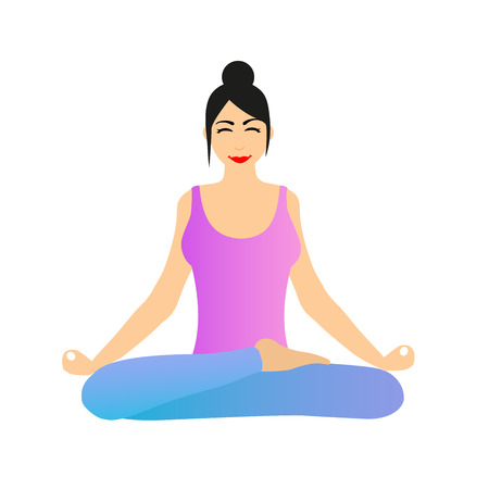 yogi: Female Yoga. A girl is sitting in lotus position. Vector illustration of a woman practicing yoga.