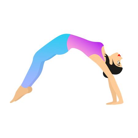 yogi: Female Yoga Practice. Vector illustration of a woman making yoga movement isolated on a white background.