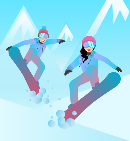 Snowboarders vector illustration. Man and woman jumping on snowboards. Flat characters. Snowboarders on mountain slope background. Vector illustration Illustration