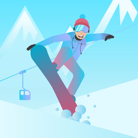 Snowboarder vector illustration. Man jumping on snowboard flat character. Snowboarder on mountain slope background. Winter extreme sport