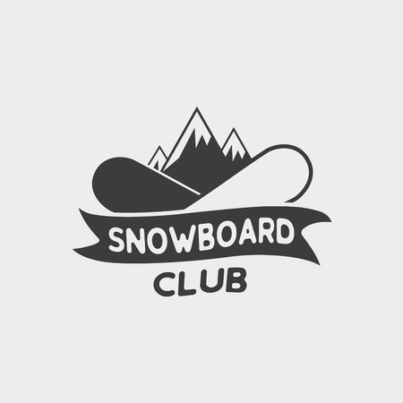 Snowboard club logo, label or badge template with two snowboards and mountains.