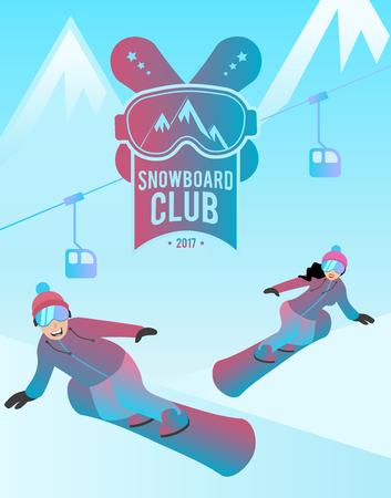 Snowboard club vectorillustratie.