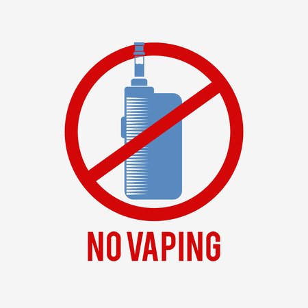 No vaping icon. E-cigarette pictogram on a white background. This sign is used to denote a vaping ban.