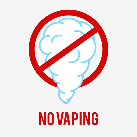 No vaping Sign. E-cigarette icon is used to show a vaping ban. A pictogram on a white background.
