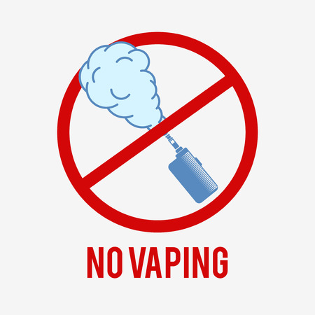 No vaping icon. E-cigarette sign on a white background. A pictogram is used to designate a vaping forbiddance.