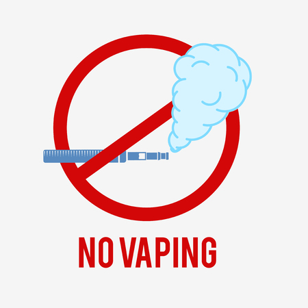 No vaping icon. E-cigarette sign on a white background. This pictogram is used to show a vaping ban.