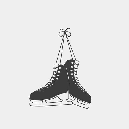 A pair of tied ice skates isolated on a white background. Monochrome symbol. Sports equipment for ice skating. Tjis badge can be used for social network and web advertising or brand promotion.