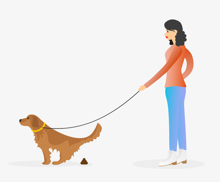 Girl walking a dog on leash. Golden retriever is pooping. Woman and a pet. Clean after your dog concept.