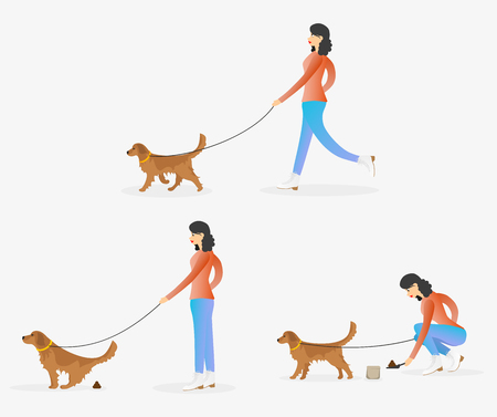 Woman cleaning after dog. Girl walking with pet. Golden retriever is pooping. Female character walking with dog on leash. Set of vector illustrations. Illustration