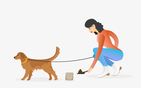 Woman cleaning after golden retriever dog. Girl with a pet. Female character walking a dog on leash. Illustration