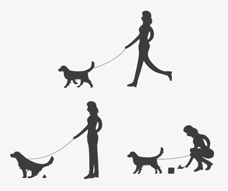 Silhouette of woman walking a dog. Golden retriever is pooping. Girl is cleaning after a dog. Set of vector illustrations. Illustration
