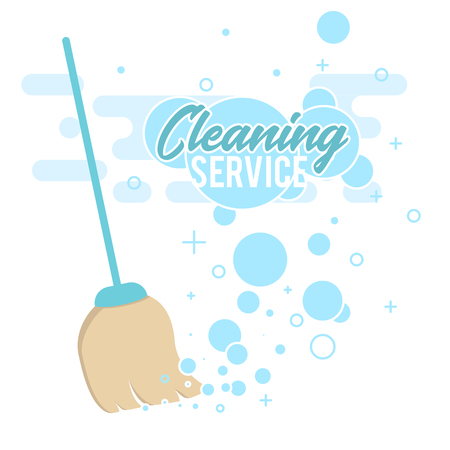 Cleaning service design concept with broom on white background