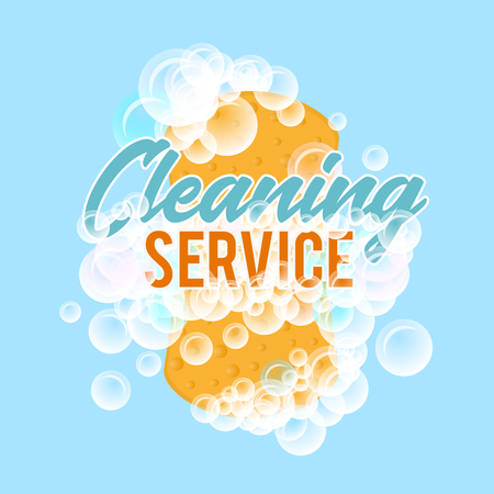 Clraning service logo or badge. Realistic vector illustration of sponge for washing with foam bubbles Illustration