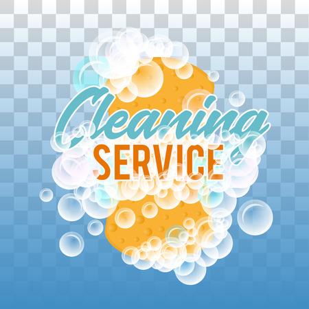Clraning Service Logo oder Abzeichen. Realistische Vektorillustration des Schwammes für das Waschen mit Schaum sprudelt auf Hintergrund mit transparentem Effekt Logo