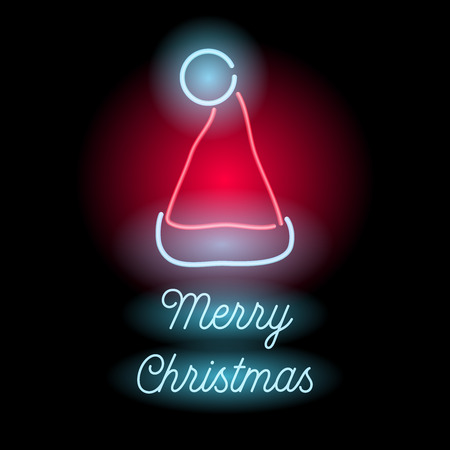 Neon Merry Christmas sign. Glowing text and Santas hat on black background. Illustration