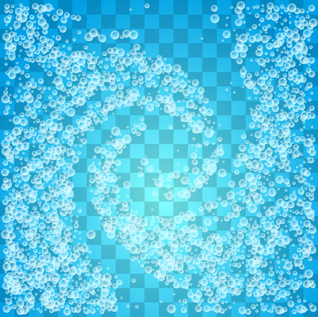 Whirlpool with water and soap bubbles on transparent background. Çizim