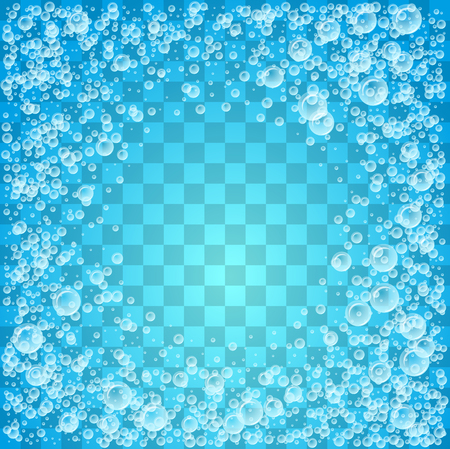 Water transparent-effect background with bubbles. Vector illustration with copy space. Stock Photo