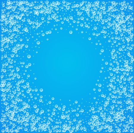 Water background of blue color with bubbles. Vector illustration with copy space. Illustration