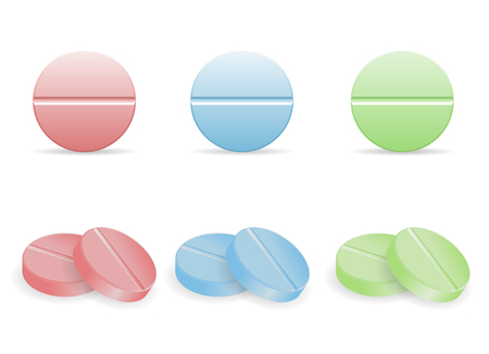Set of colorful pills in round form vector illustration Illustration