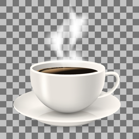 Cup on saucer. Hot coffee with steam. Object on the transparent background. Americano coffee.
