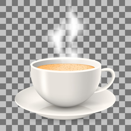 Hot cup of coffee with steam on saucer. Element on the transparent background. Cappuccino and latte coffee. Illustration