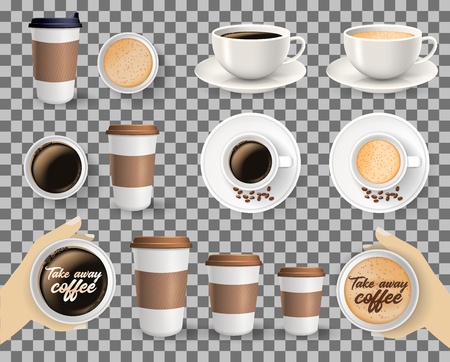 Set of to go and takeaway paper coffee cups in different sizes and coffee cups on saucers. Objects isolated on transparent background. Imagens - 92193481