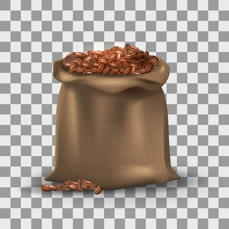 Bag of coffee beans icon.