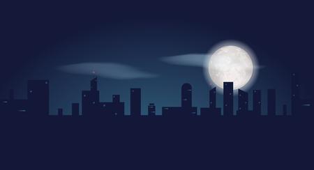 어두운 도시 건물의 실루엣입니다. 고층 빌딩 및 바보 문 밤 풍경입니다. 벡터 일러스트 레이 션 일러스트