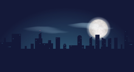 Silhouette of dark city buildings. Night landscape with skyscrapers and fool moon. Vector illustration Ilustração