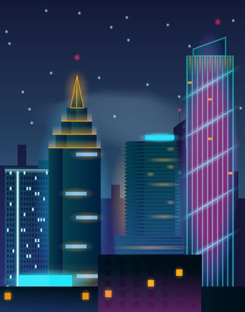 Night city skyscrapers. Buildings in neon lights.