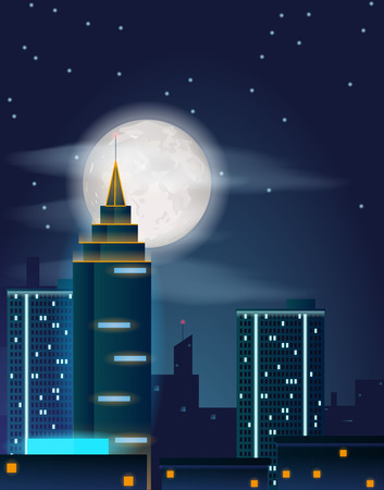 Vector poster design with night city buildings and full moon and stars on dark sky. Dark metropolis landscape with skyscrapers