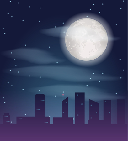 Silhouette of night city buildings. Dark metropolis landscape with skyscrapers and full moon. Vector illustration Illustration