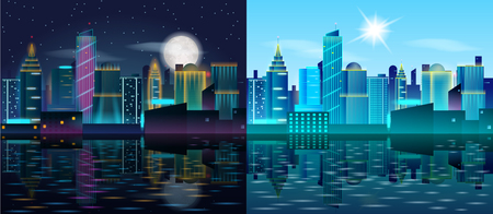 Big city day and night landscape. Skyscrapers in neon lights. Sunny day and night with full moon. Buildings reflection in the water. Vector illustration of Metropolis.