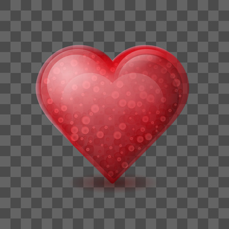 Red heart with bubbles inside isolated on white background. Glossy crystal glass heart. Romantic symbol of love on February 14. Valentines day greeting card template.